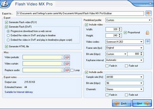 Convert video to flv settings